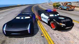 Police Car Lightning McQueen vs Jackson Storm - Hot pursuit - Police Chase - Cars and Friends