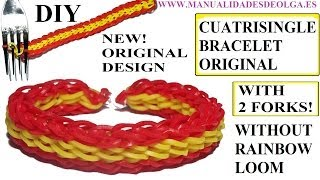 How To Make CUATRISINGLE Bracelet With Two Forks. Without