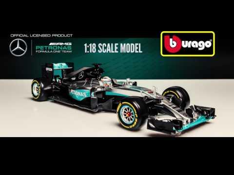 Bburago Mercedes Petronas F1 W07 Hybrid Lewis Hamilton 2016 - 1:18 Scale Diecast Car