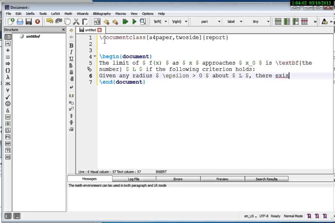 First LaTEX Document Example Using TeXstudio
