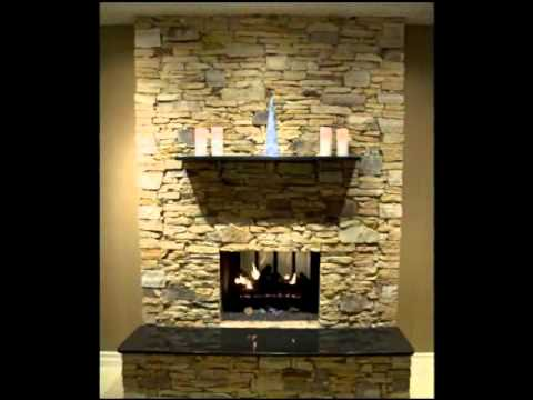 Brick Fireplace Transformed To Stone Fireplace Youtube