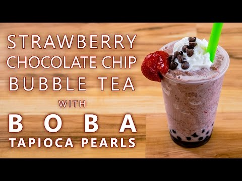 How to Make Strawberry Chocolate Chip Bubble Tea with Boba Tapioca Pearls
