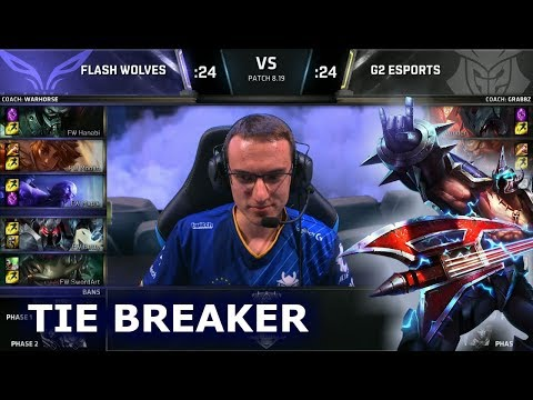 FW vs G2 - Tie Breaker | Day 6 Group A Decider S8 LoL Worlds 2018 | Flash Wolves vs G2 eSports