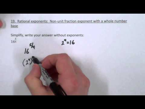 PreTest 19   Non Unit Fraction Exponent with a Whole Number Base