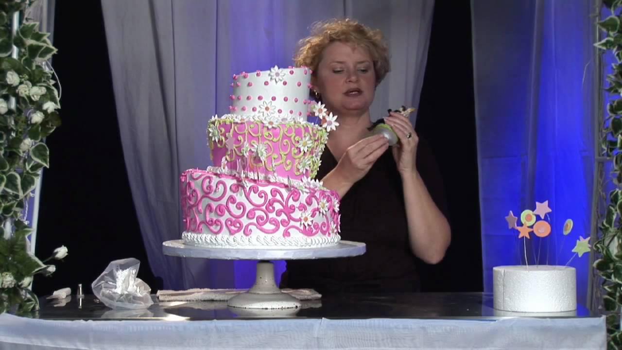 three tier whimsical wedding cake design wedding cake attach topper using dowel youtube. Black Bedroom Furniture Sets. Home Design Ideas