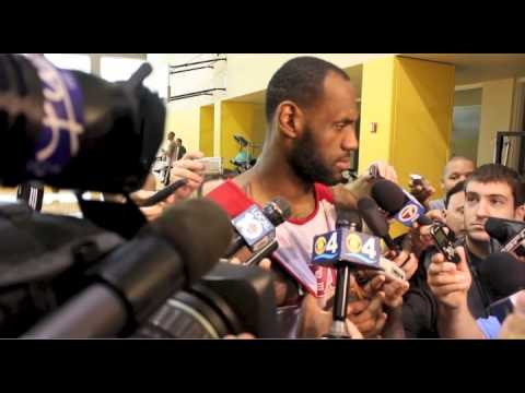 LeBron James speaks during Miami Heat practice before NBA Finals
