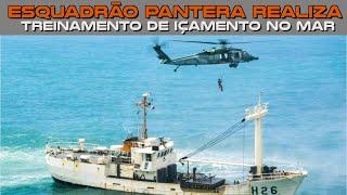 O Esquadrão Pantera (5º/8º GAV), sediado na Ala 4, em Santa  Maria (RS), realizou o treinamento de içamento no mar. O exercício operacional, que ocorreu em Florianópolis (SC) e Navegantes (SC), teve como objetivo preparar os militares da Unidade Aérea para o resgate do tipo kapoff (duplo molhado) e do tipo convés (duplo seco e maca).