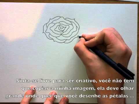 Como desenhar uma rosa facil