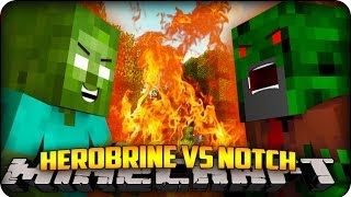 Minecraft HEROBRINE VS NOTCH! Mo Zombies Mod Showcase