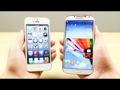 Samsung Galaxy S4 vs Apple iPhone 5, A full comparison between the Samsung Galaxy S4 and the Apple iPhone 5 smartphones! Great Deals on Tech! - http://amzn.to/18XUEcc Get it here: iPhone 5 - htt...