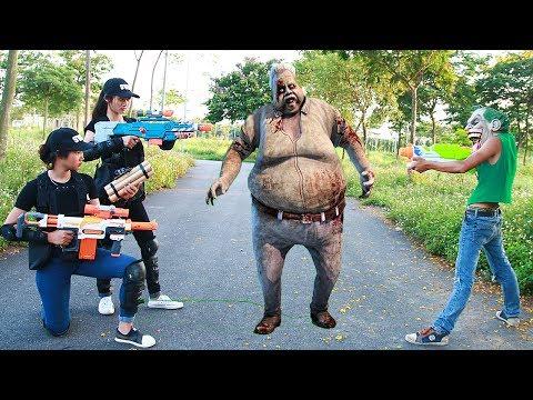 Superhero action Female police task & S.W.A.T Nerf guns Zombie bites Monster Nerf war