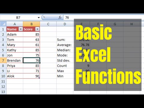 (HD) (CC) Excel Basic Functions - SUM, AVERAGE, MEDIAN, MODE, COUNT, STDEV, MIN, MAX