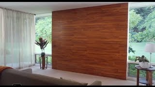 Pared decorada con piso laminado