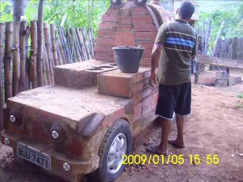 Forno com tambor e fogão a lenha ( modelo carro )