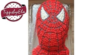 How to make a Spiderman cake with whipped cream or icing