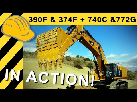 Brand New CAT 390F & 376F + 740C & 772G in Action - 1st Impressions - 4k Ultra HD - Bauforum24