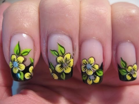 Nail art: Black french with yellow flowers