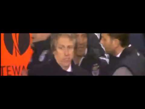 Tim Sherwood arguing with Jorge Jesus over gesture   Tottenham vs Benfica, 13 03 14 HD1