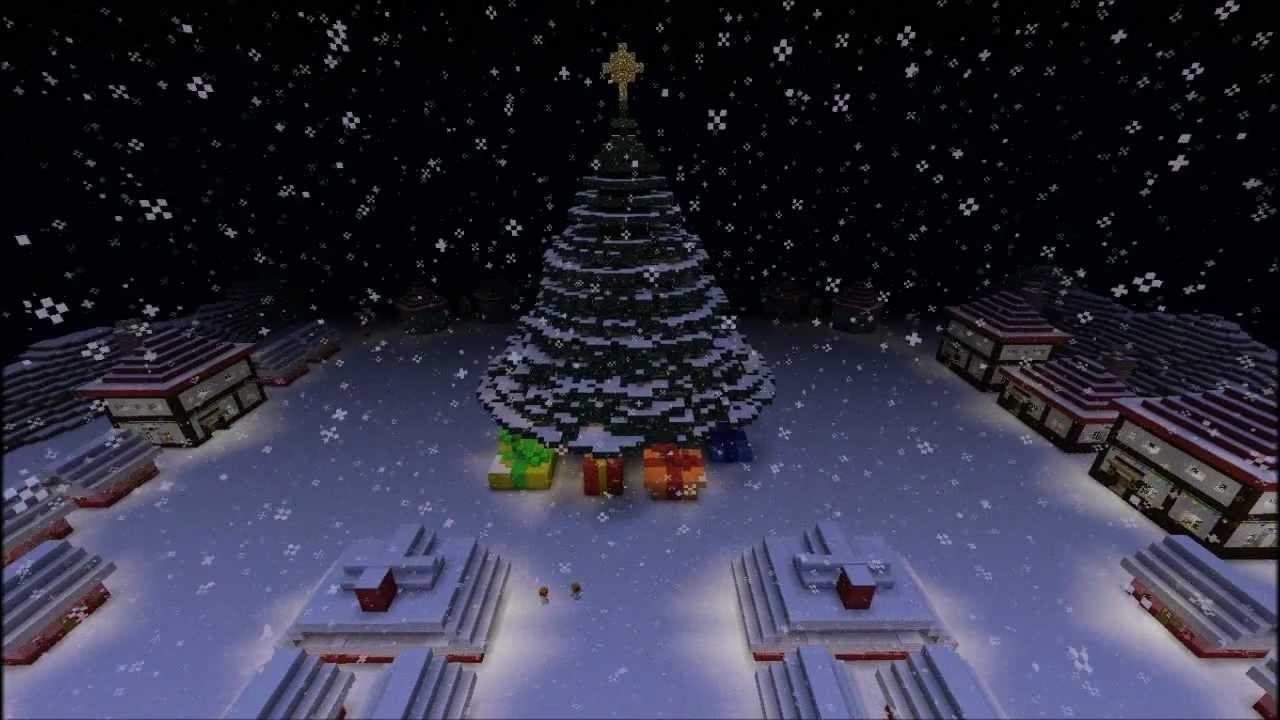 Minecraft Christmas Town - Giant Christmas Tree & Snowman - YouTube