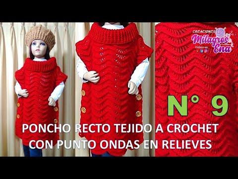 Poncho Recto tejido a crochet o ganchillo paso a paso, indicaciones todas las tallas