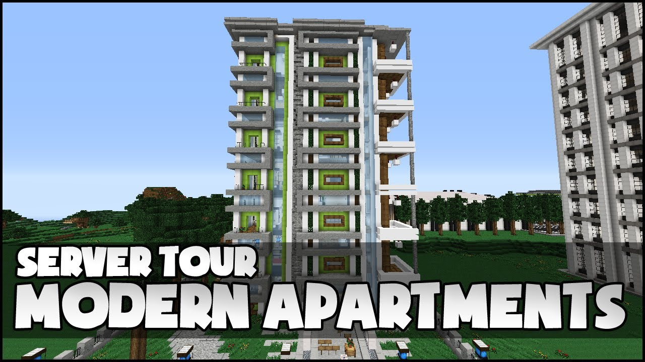 Minecraft modern apartment complex youtube for Apartment complex designs
