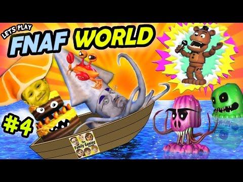 Lets Play FNAF WORLD #4:  FOUND THE OCEAN! (Chase & Duddy Explore the Deep Blue Sea on FGTEEV)