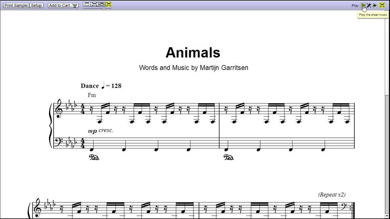 how to play animals on piano notes