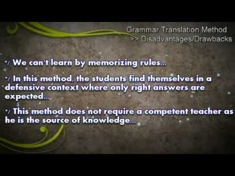compare and contrast the grammar translation method The audio-lingual method and the grammar-translation method are two strategies and interventions that can be used for the teaching of second and foreign languages they are both methodologies that .