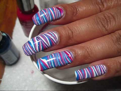 4th of July Red, White & Blue Stripes Water Marble Nail Art Tutorial - YouTube, More pics in this blog post: http://mysimplelittlepleasures.blogspot.com/2010/06/notd-4th-of-july-water-marble.html Nail polish used: Sally Hansen Cherry Red...