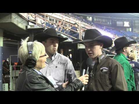 Kolton Schmidt & Tyrel Flewelling win round one of #CFR40 in the Team Roping