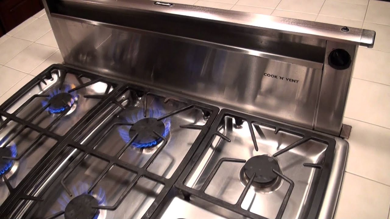 Thermador gas cooktop and downdraft for sale youtube for Stove top with built in vent