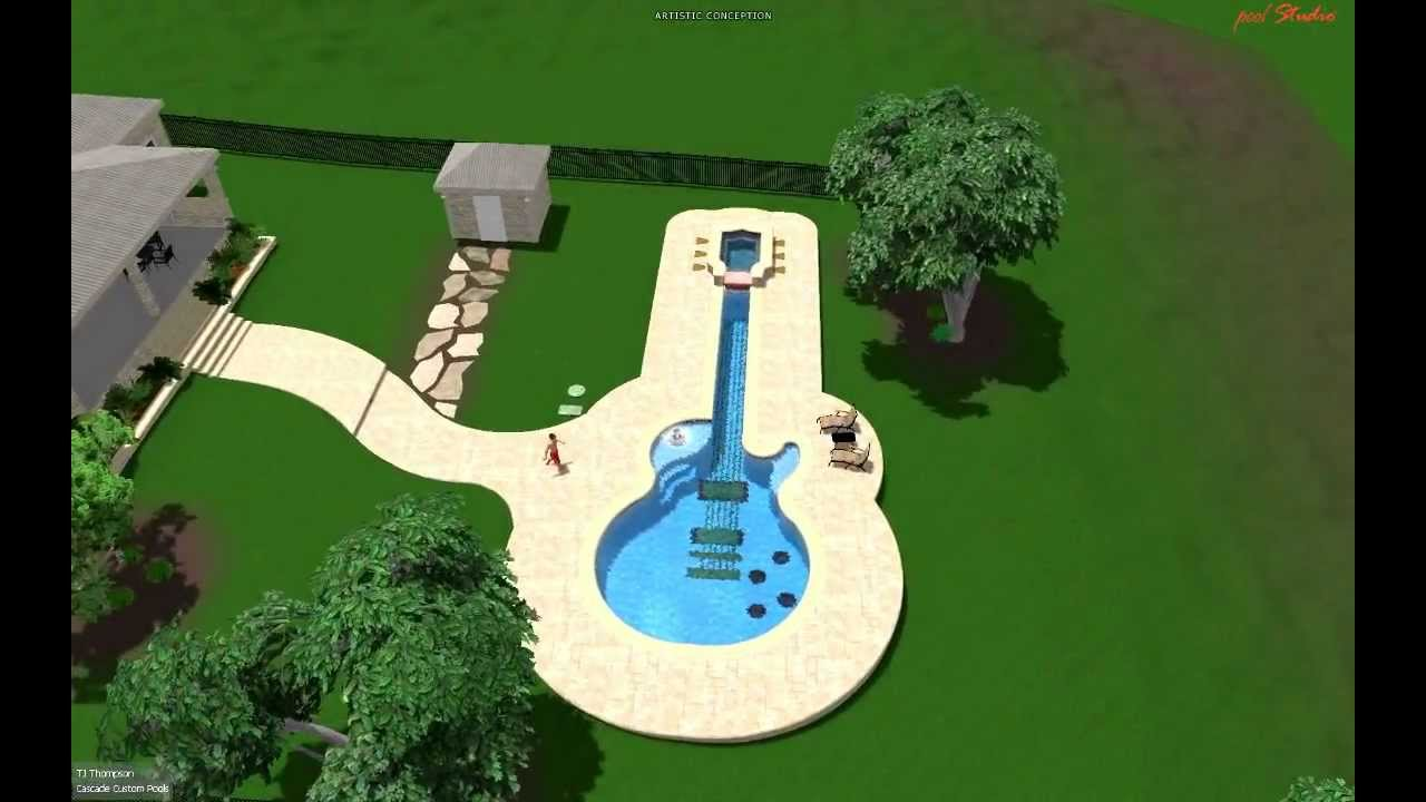 Pool Design By Cascade Custom Pools The Guitar Pool Youtube