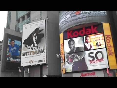 NYPD investigates Times Square billboard vandalism.