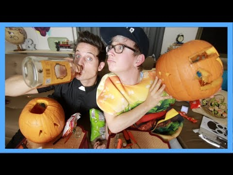 DRUNK PUMPKIN CARVING (ft. Sawyer Hartman)