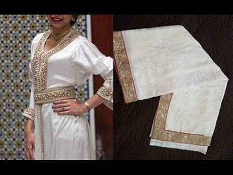 Vente joli Caftan Sari mousline blanc 3aroussa, bordures terz doré - MAROC