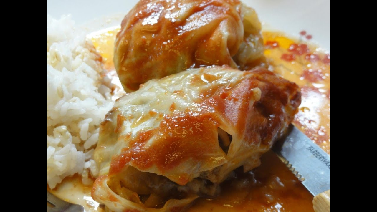 Stuffed Cabbage Rolls in a Crockpot slow cooker - YouTube