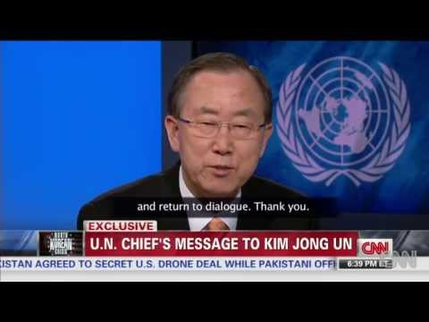 (HD) CNN Wolf Blitzer makes UN Chief Ban Ki-moon to Talk to North Korea Kim Jong-Un in Korean