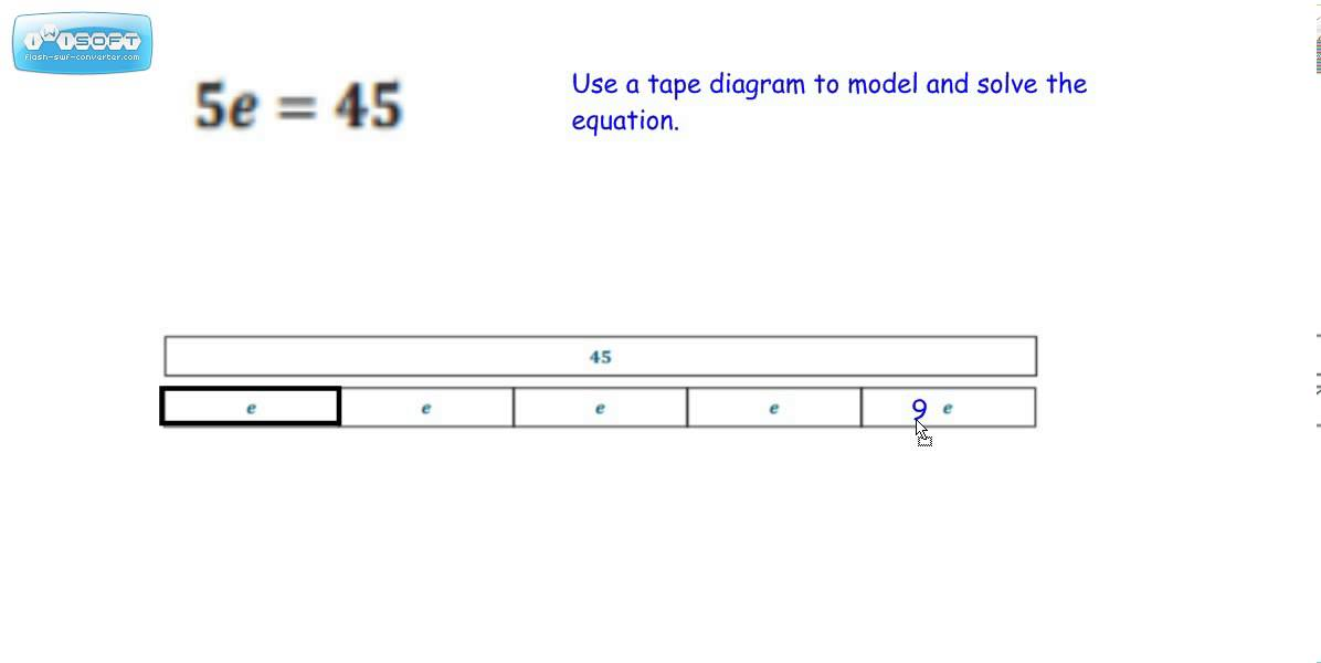 tape diagram to model multiplication and division equations