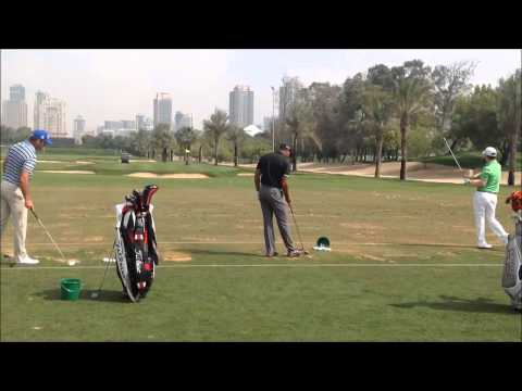 Tiger Woods iron swing on the range at the 25th Omega Dubai Desert Classic 2014