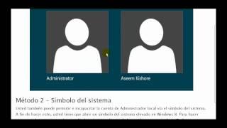 Inicio De Sesión Como Administrador En Windows 8