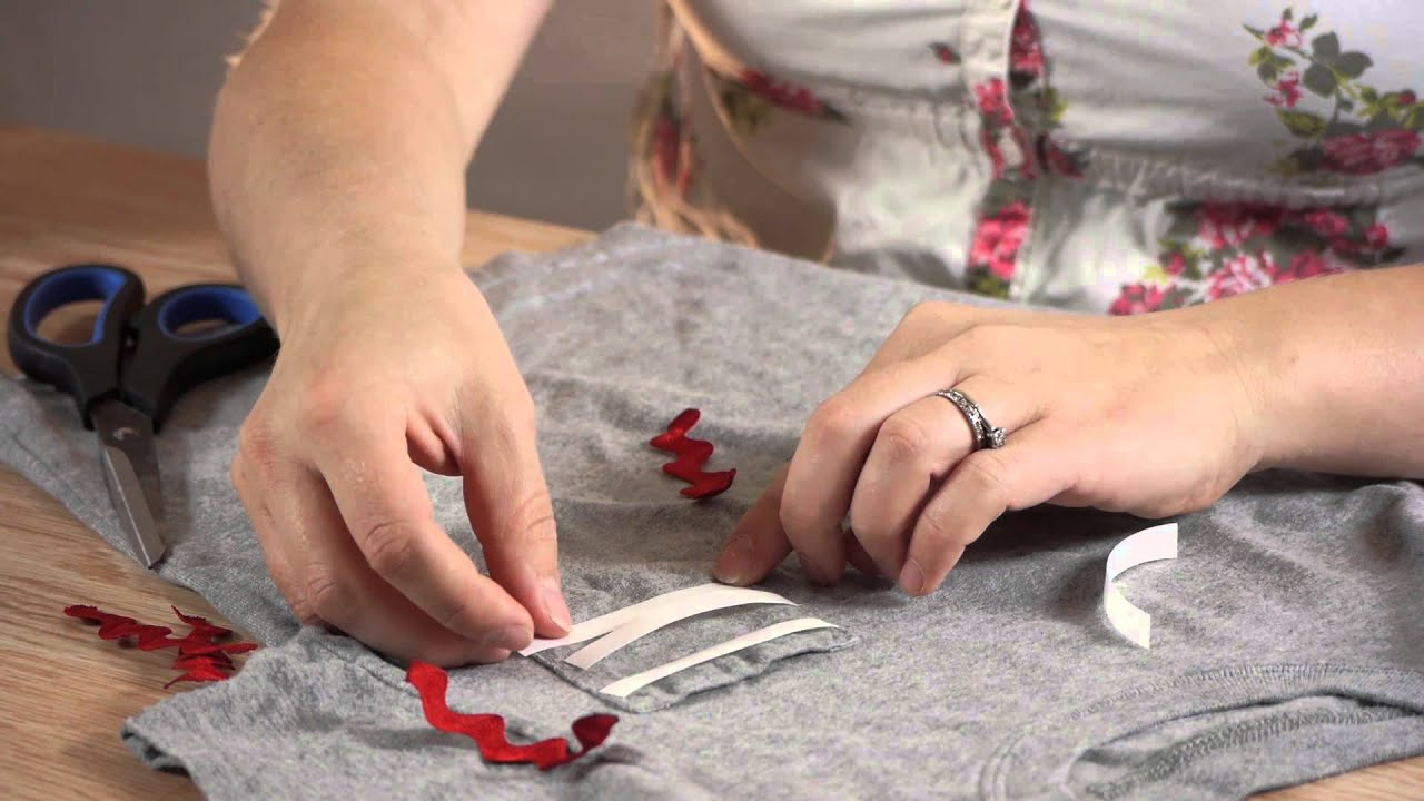 How to put ribbons on t shirts shirt crafts youtube for How to put a picture on a shirt diy