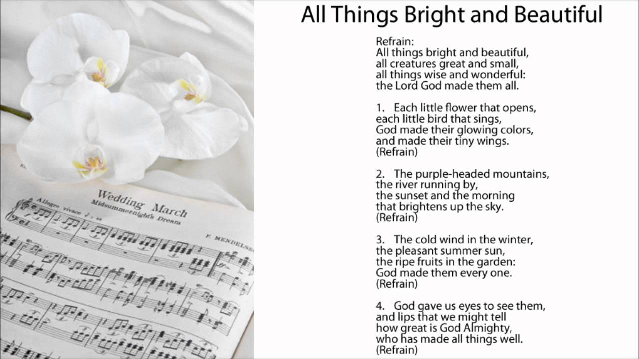 All Things Bright And Beautiful Hymn - songandpraise.org