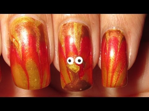 Thanksgiving Turkey Tails Water Marble Nail Art Tutorial, My actual Thanksgiving Day manicure =) Figures that the nail I recorded turned out to be the messiest turkey LOL. Nail polish & tools used: China Glaze - Go ...