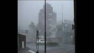 Typhoon Usagi strikes Japan - video from eye of the storm