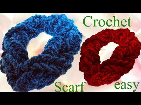 Como tejer una Bufanda a Crochet con una sola tira de argollas gruesas trenzadas - Scarf Crochet