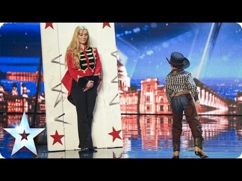 See 11 year old Edward Pinder throw knives at Simon Cowell | Britain's Got Talent 2014