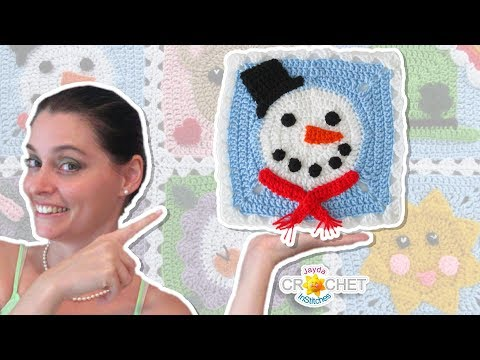 Snowman Blanket Square - Crochet Motif - January