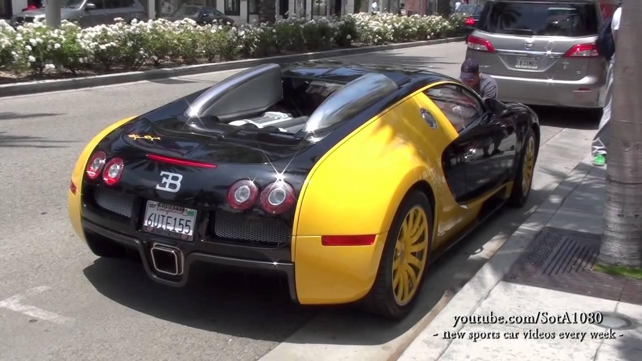 bugatti veyron black yellow full video walk around beverly hills best youtube. Black Bedroom Furniture Sets. Home Design Ideas