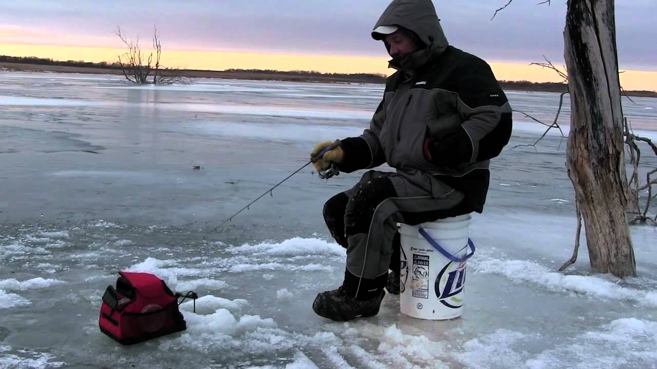 On Ice 0009 Ice Fishing Perch 40 Mph Winds Webster
