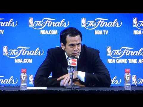 Miami Heat coach Erik Spoelstra speaks after Game 4 loss to San Antonio Spurs